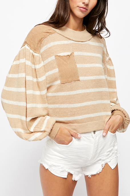 Neutral Pocket Stripe Sweater