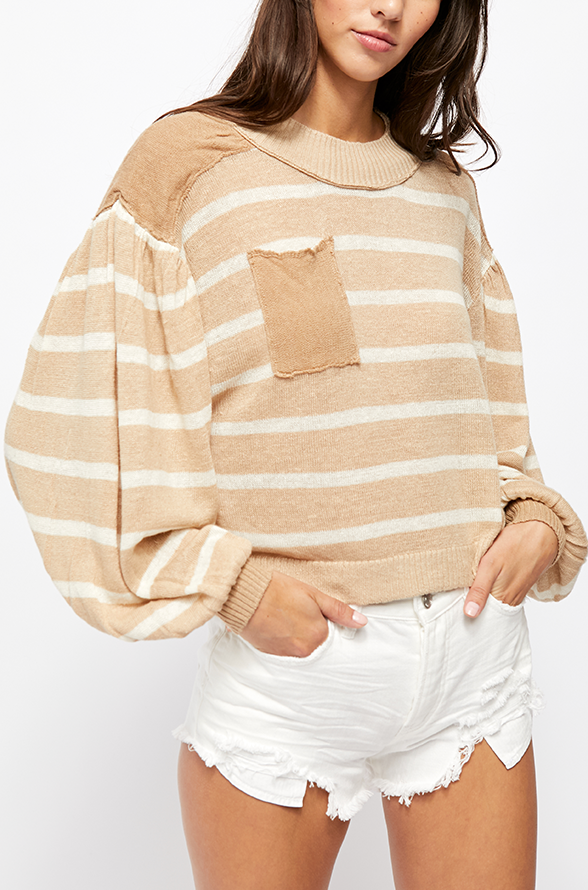 SALE Neutral Pocket Stripe Sweater