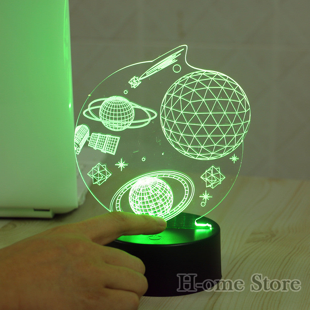 7 Color Space 3D Visual Led Night Lights for Kids Touch USB Table Lampara  Lampe Baby Sleeping Nightlight