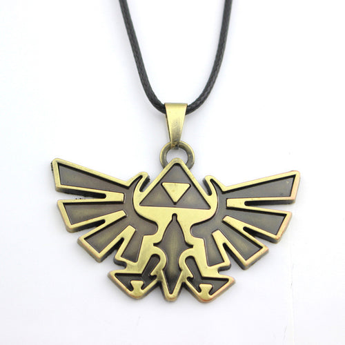 3D The Legend Of Zelda Pendant Antique Bronze Vintage Triforce Necklace High Quality Gothic Women And Men Rope Leather2D85