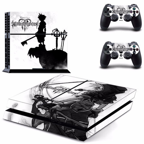 Anime Kingdom Hearts Vinly PS4 Skin Sticker for Sony PS4 Console and 2 Controllers Decal