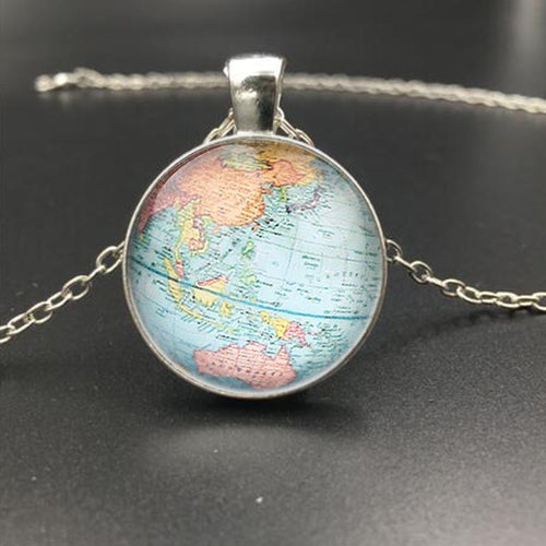 4 Style 2016 Newest Vintage Globe Long Necklace Planet Earth World Map Necklace Art Glass dome pendant necklace Christmas Gift