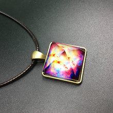 Steampunk Glowing Crystal Glow in the Dark Pyramid Pendant Outer Space Star Dust Necklace Triangle Geometric Magic Maxi Necklace