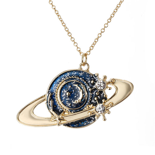1PC European Enamel Planet Necklaces For Women Jewelry Silver Plated Crystal Spacraft Pendant Necklace Link Chains N189