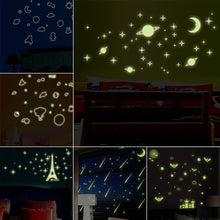 Universe Starry luminous stickers Planet Star Moon glow in the dark fluorescent decals room decoration kids cartoon wallpapers