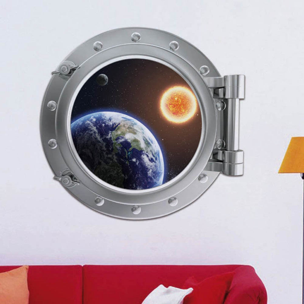 Real Wall Sticker New 3D False Planet Backdrop Bedroom Window Stickers Home Decor Living Room For Kids Rooms Adesivo De Parede