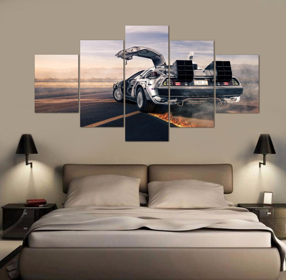 Framed 5 Pieces Canvas Art Back to the future time car Paintings on Canvas Painting Wall Art for Home Decorations Wall Decor