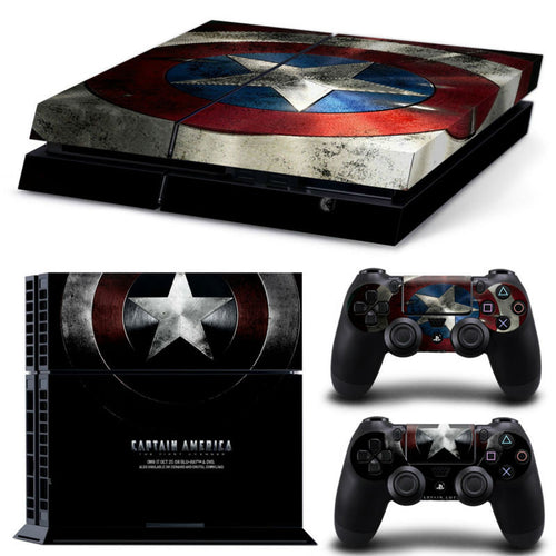 Captain America Play 4 PS4 Skin 1 Set Skins For play station 4 Sticker Decal Cover + 2 Controller Sticker ps4 accessories