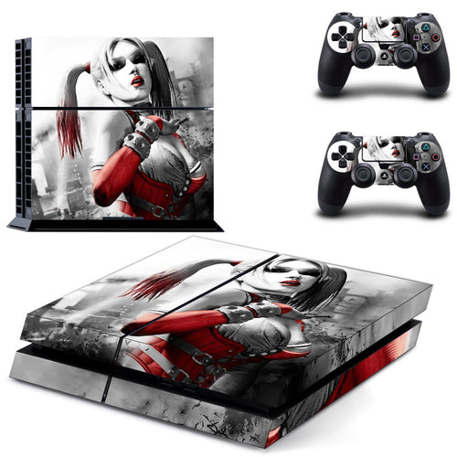 Batman Series Harley Quinn PS4 Sticker PS4 Skin PS4 Stickers + 2Pcs Controller Skin Console Stickers PS4 Protective Skin