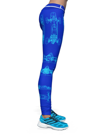 Women's Racer Leggings | Blue Retro Formula Racer