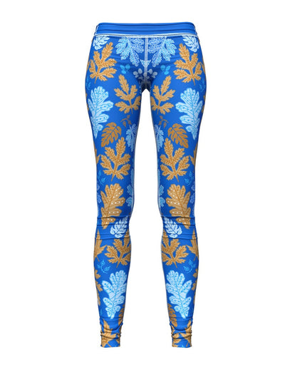 Women's Floral Leggings | Blue Leaf Me Alone