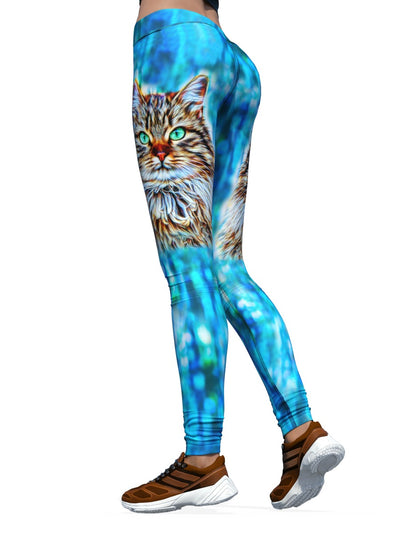 Women's Cat Leggings | Feeling Feline Blue