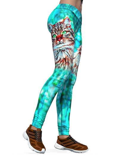 Women's Cat Leggings | Feeling Feline Green