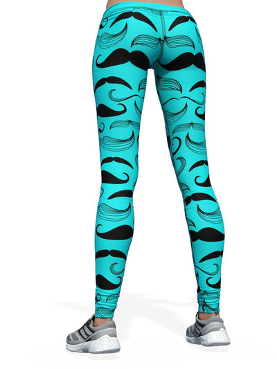 Women's Pattern Leggings | Teal Nice Moostache