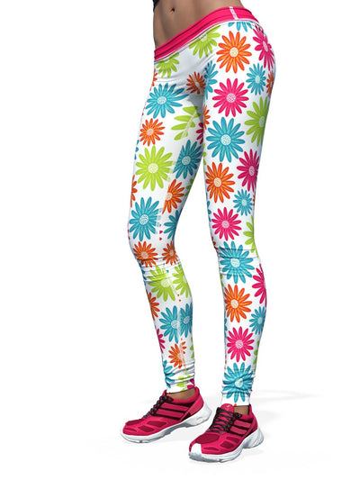 Women's Floral Leggings | White Drive Me Daisy