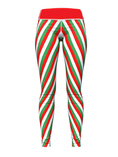 Women's Christmas Leggings | Candy Cane Stripes