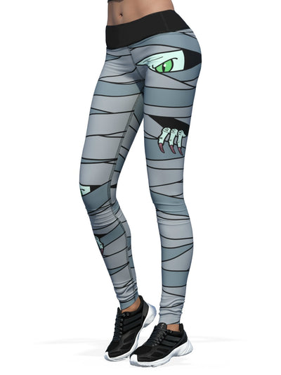 Women's Halloween Leggings | Mummified Green Monster