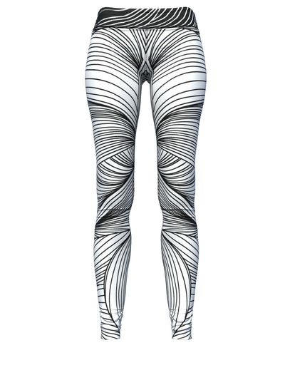 Women's Waves Leggings | Black and White