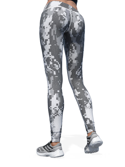 Women's Camo Leggings | Grey Pixelated