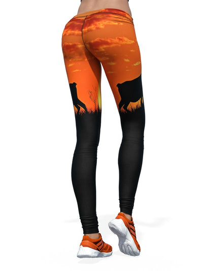 Women's Animal Leggings | Orange Elk Sunset