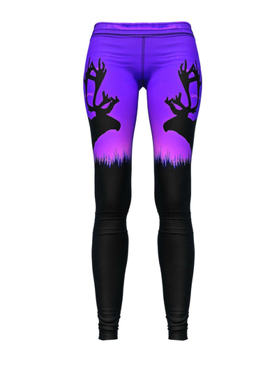 Women's Animal Leggings | Elk Purple Sunset