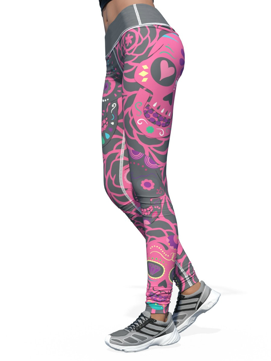 Yikes Pink Sugar Skull Leggings