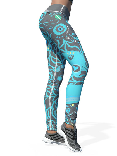 Yikes Teal Sugar Skull Leggings