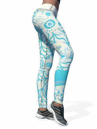Yikes White and Teal Sugar Skull Leggings