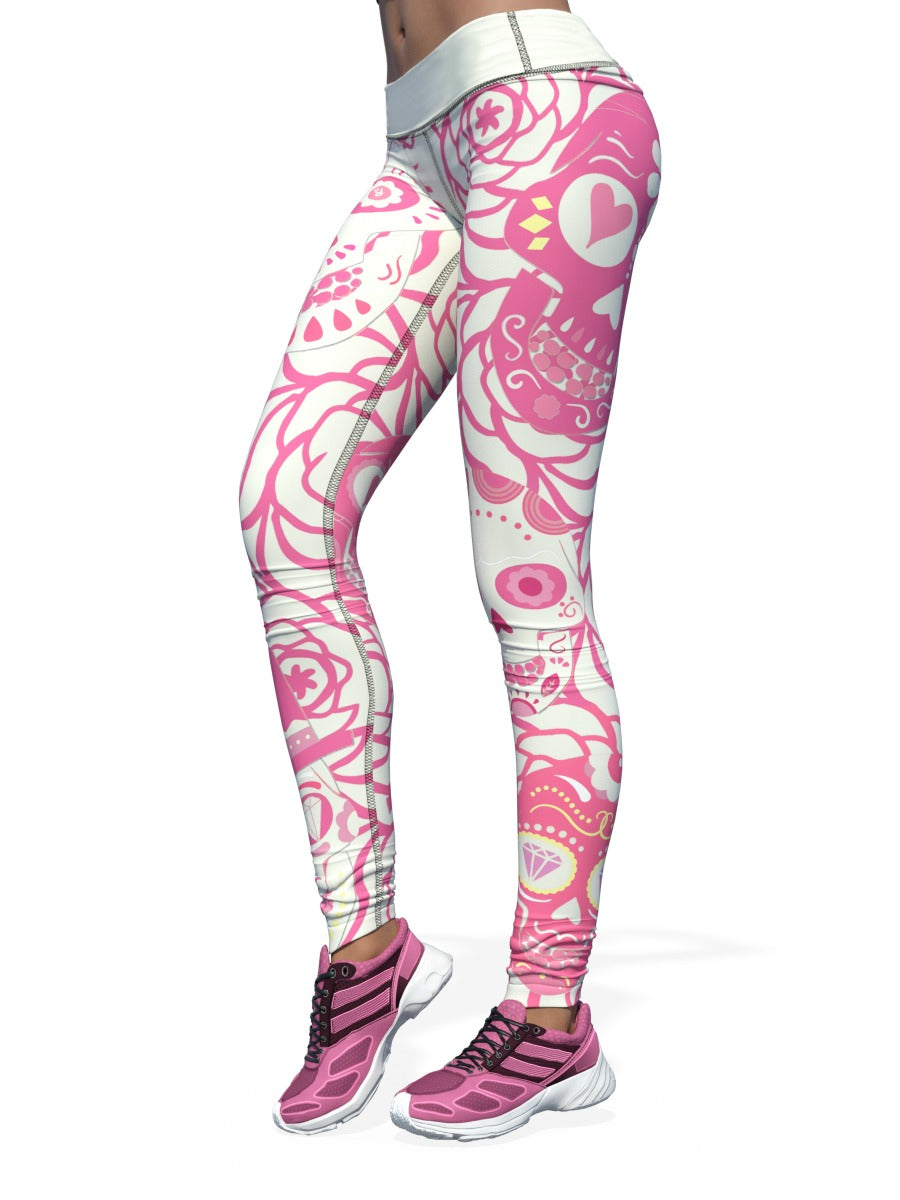 Women's Skull Leggings | White and Pink Sugar Skull
