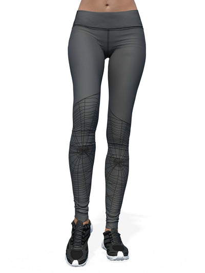 Women's Halloween Leggings | Webbed Gray