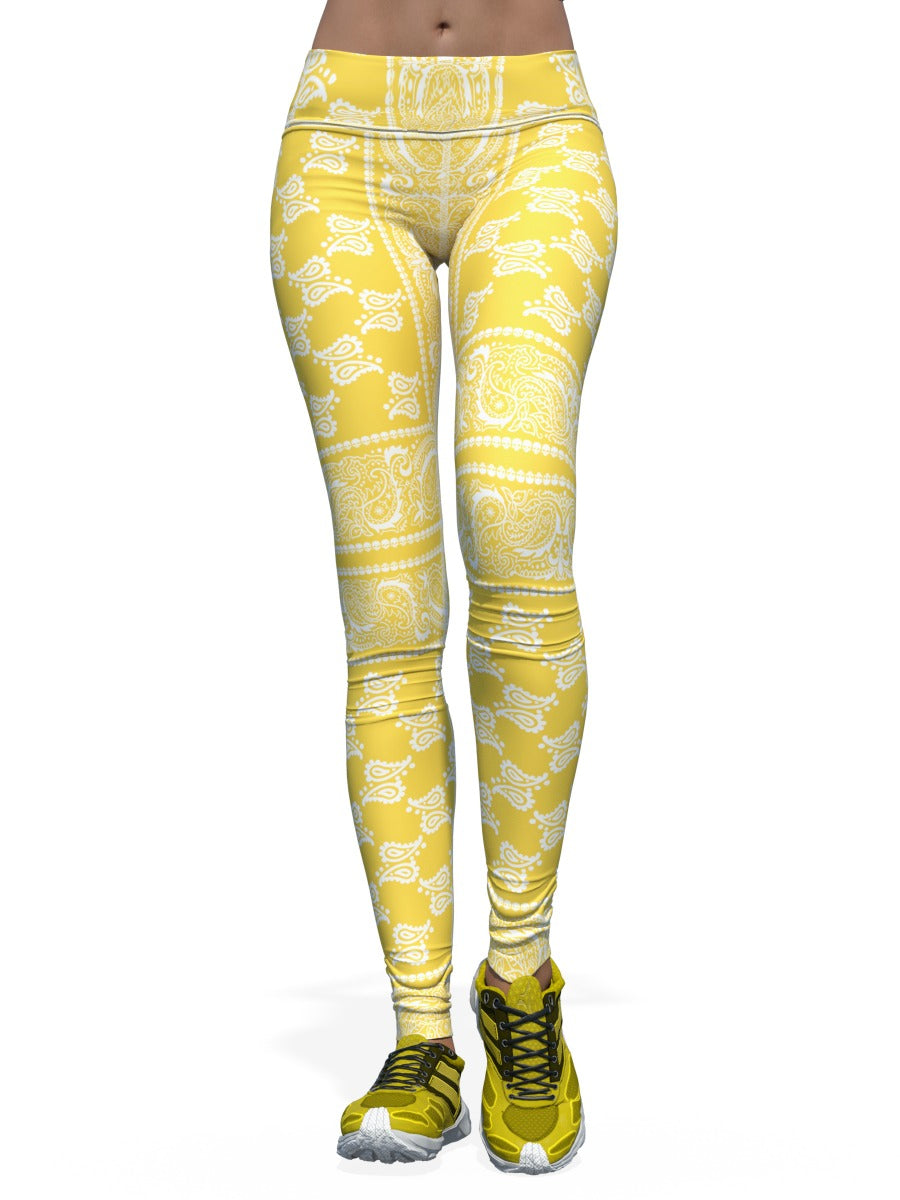 Women's Bandana Leggings - Yellow Bandana