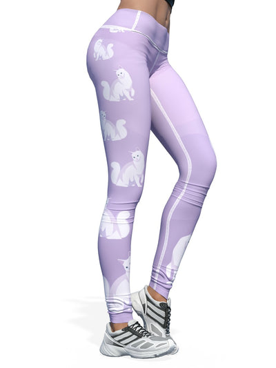 Women's Cat Leggings | Purple Turkish Angora