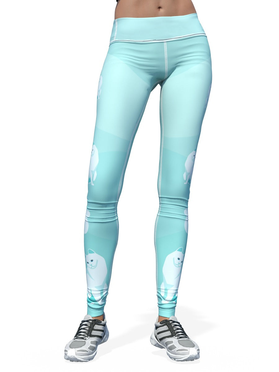 Women's Cat Leggings | Teal Turkish Angora