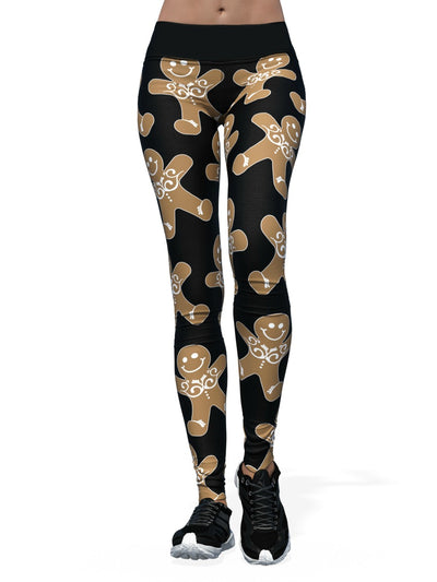 Women's Christmas Leggings | Jolly Black Gingerbread