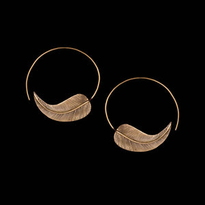 Leaf Hoop Earrings - Ekeko Crafts