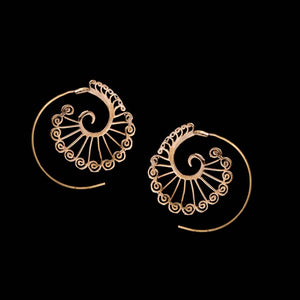 Peacock Spiral Earrings - Ekeko Crafts