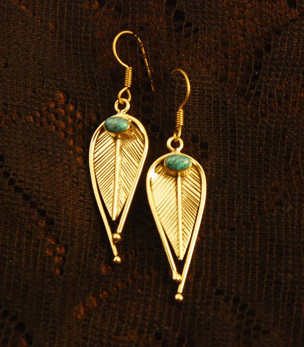 Leaf Drop earrings - Brass - Turquoise - Ekeko Crafts