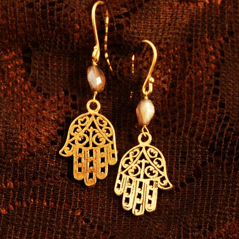 Hamsa Earrings with Gemstones - Ekeko Crafts