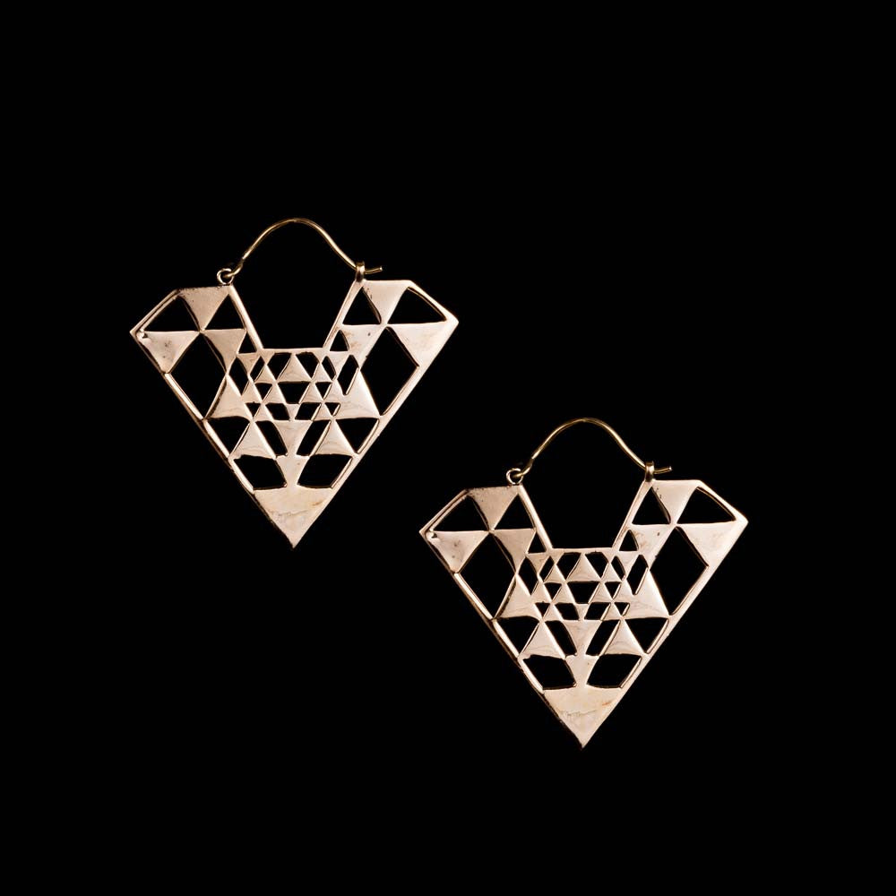 Sri Yantra Triangle Earrings - Ekeko Crafts