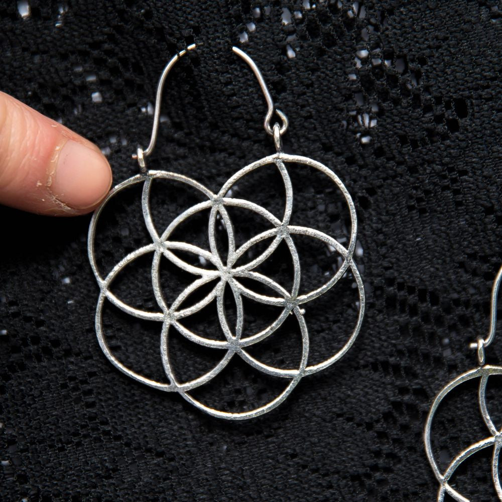 Seed of Life Hoop Earrings - Ekeko Crafts