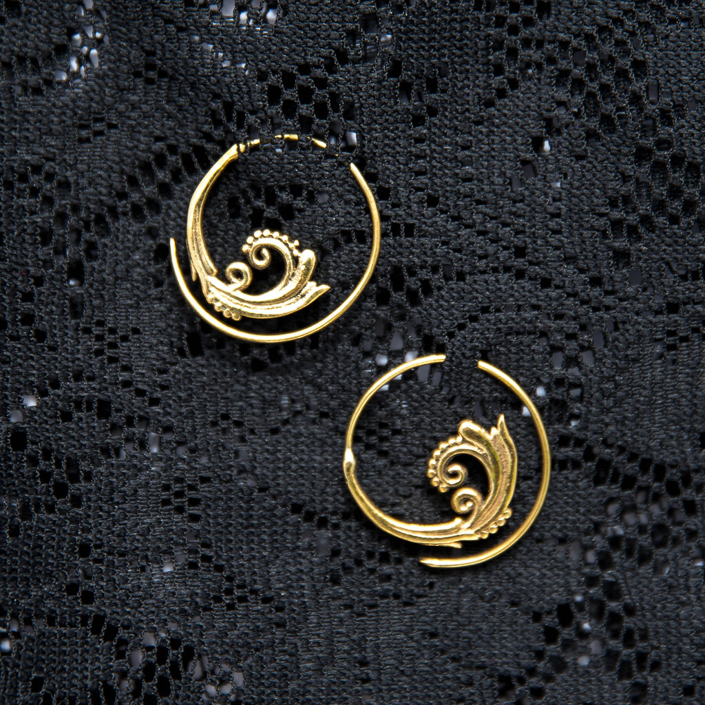 Peacock Earrings - Brass - Medium - Ekeko Crafts
