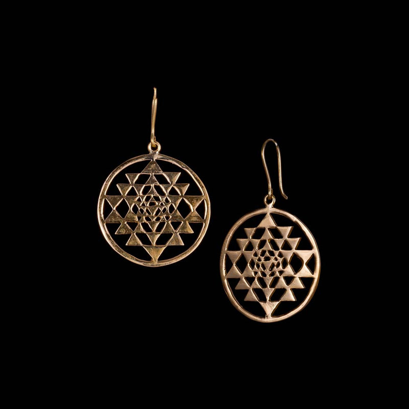 Sri Yantra Drop Earrings - Ekeko Crafts