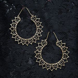 Fire Hoop Earrings - Brass - Ekeko Crafts