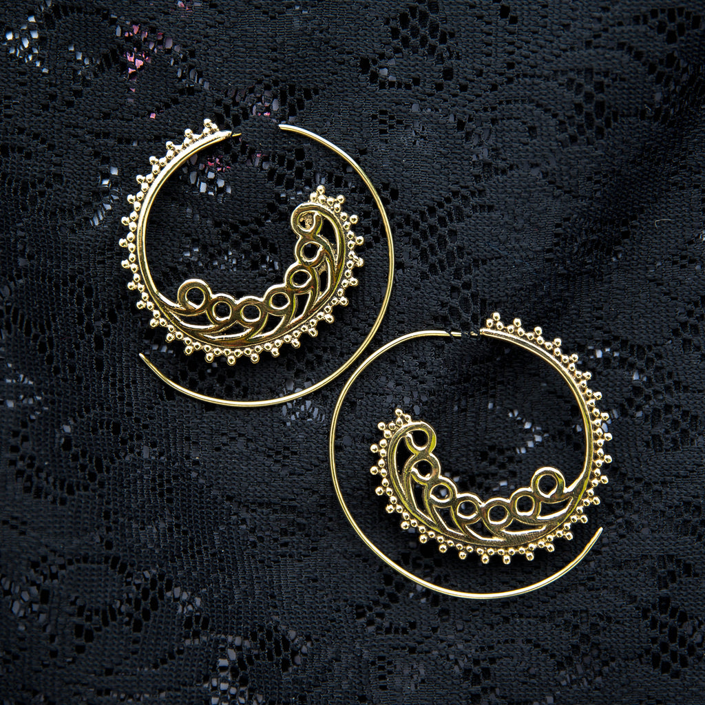 Bellydance Threader Earrings - Brass - Ekeko Crafts