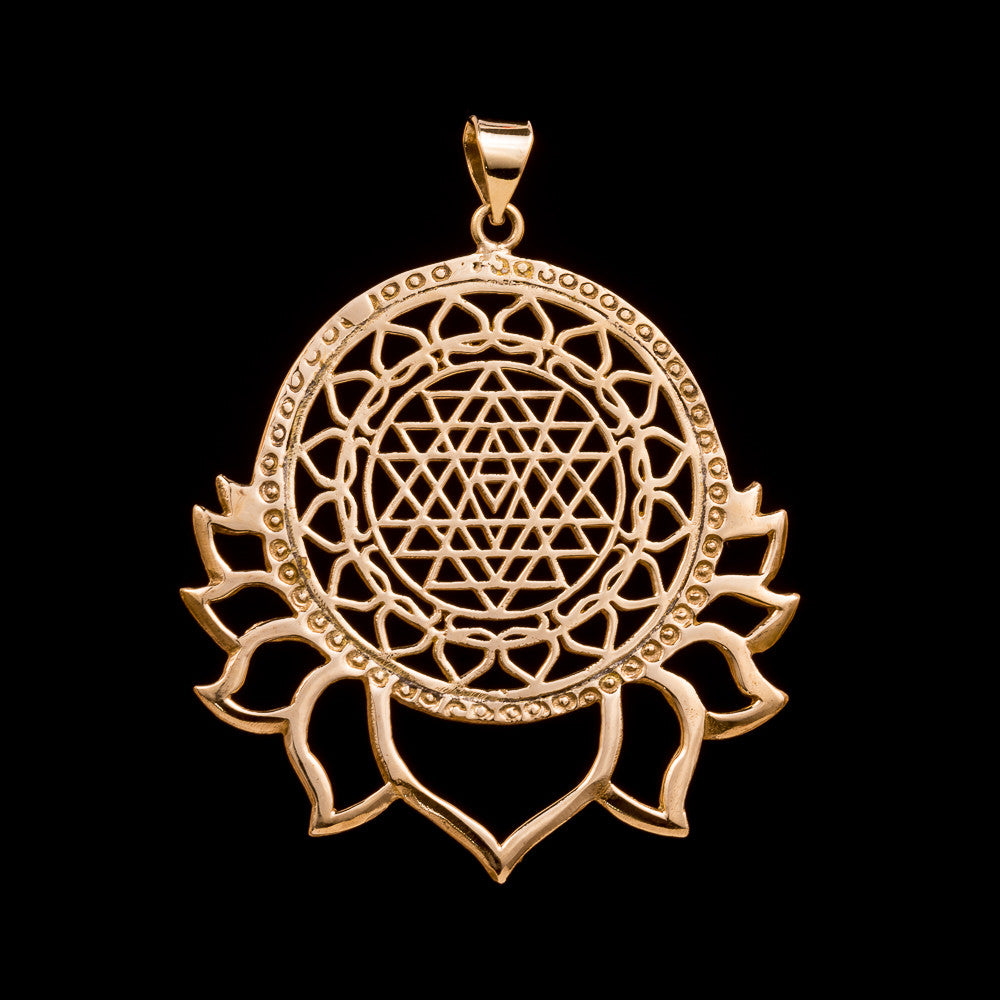 Sri Yantra Lotus Pendant - Ekeko Crafts