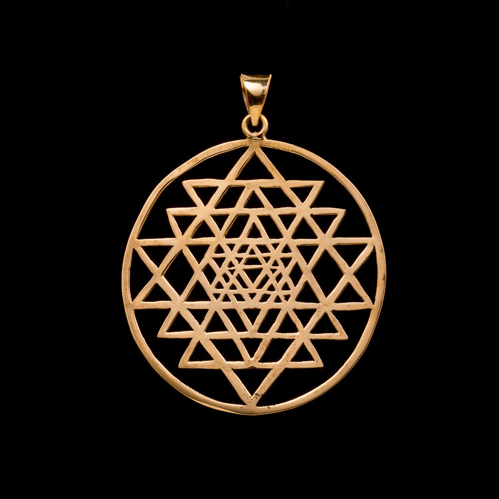 Sri Yantra Medallion Pendant Brass Sacred Geometry