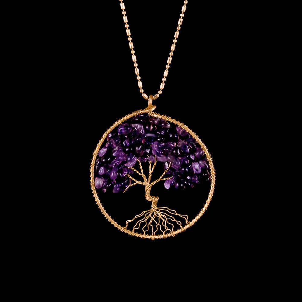 wire wrap tree necklace, amethyst tree of life pendant