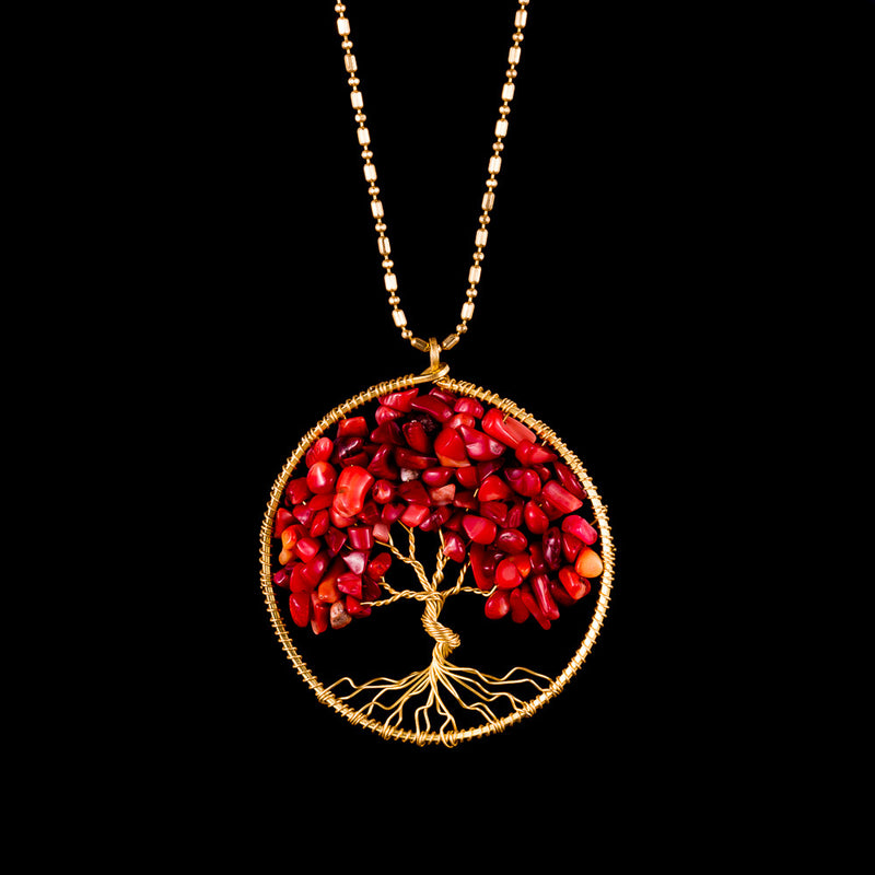 Tree of Life Necklace - Red Coral - Ekeko Crafts
