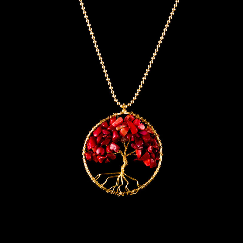 Tree of Life Necklace - Red Coral - Small - Ekeko Crafts