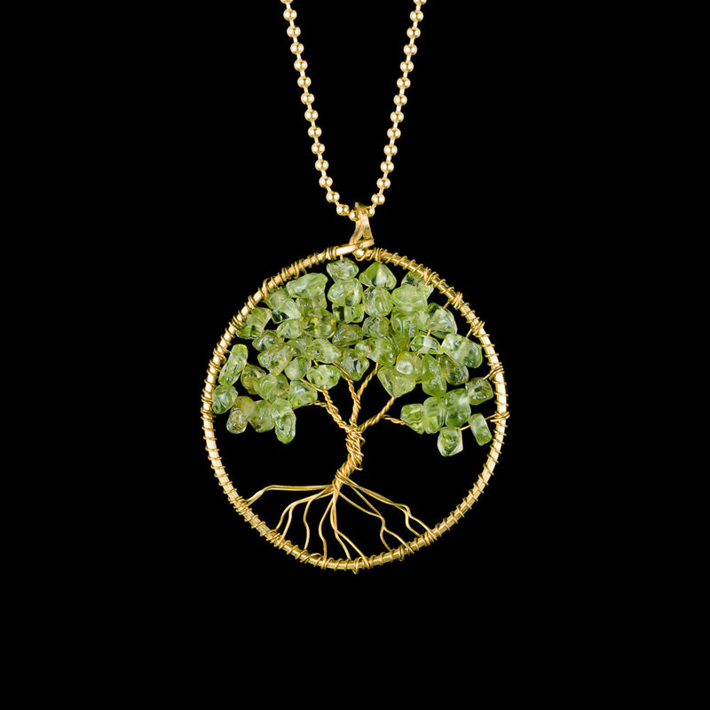 Tree of Life Necklace - Green Peridot - Small - Ekeko Crafts
